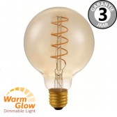 LED globe 95mm CURVE GOLD DIMTONE 8 watt E27 | WARMGLOW dimbaar