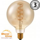 LED globe 125mm CURVE GOLD DIMTONE 8 watt E27 | WARMGLOW dimbaar