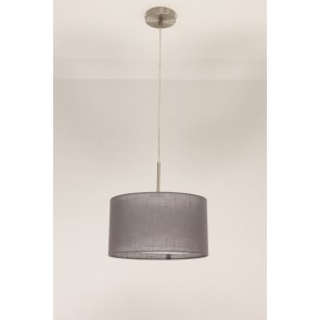 1-lichts hanglamp LACE staal | kap 0743 antraciet Ø 32 cm