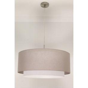 1-lichts hanglamp LACE staal | kap 1473 taupe Ø 61 cm
