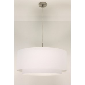 1-lichts hanglamp LACE staal | kap 1473 wit Ø 61 cm