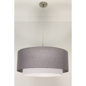 1-lichts hanglamp LACE staal | kap 1473 antraciet Ø 61 cm