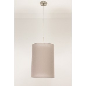 1-lichts hanglamp LACE staal | kap 1873 taupe Ø 32 cm