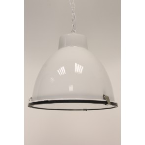 Industrie hanglamp ABBEY 1 hoogglans wit + glas Ø 42 cm