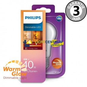 Philips LED standaard WARMGLOW 40 watt (6W) E27 | Mat