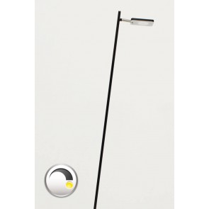 Strakke LED leeslamp PLATE SINGLE met pulsdimmer | Zwart
