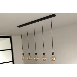 Hanglamp NUMBER FIVE met zwarte fittingen | Met 5 dimbare LED-lampen