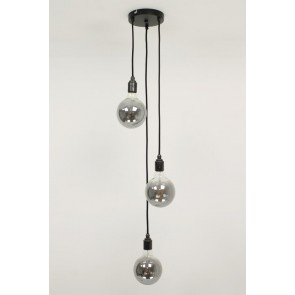 Hanglamp NUMBER THREE zwart | 3 dimbare globes SMOKE 125mm