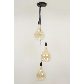 Hanglamp NUMBER THREE zwart | 3 dimbare GIANTS III GOLD