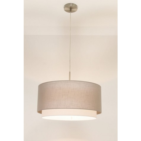 1-lichts hanglamp LACE staal | kap 1573 taupe Ø 47 cm