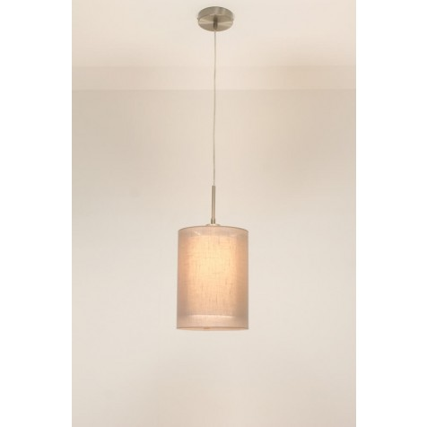 1-lichts hanglamp LACE staal | kap 1773 taupe Ø 20 cm