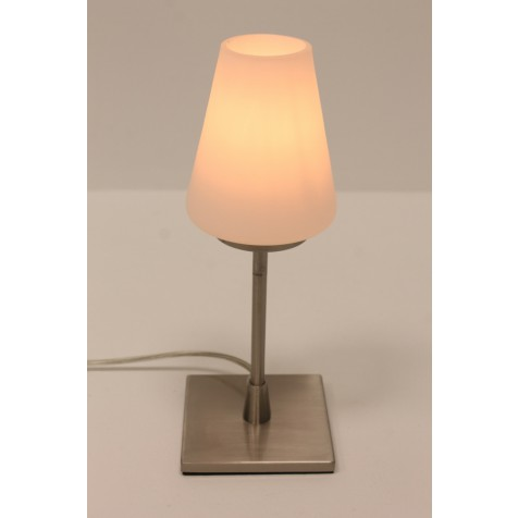Tafellamp 78424 Staal met wit glas | Touchdimmer