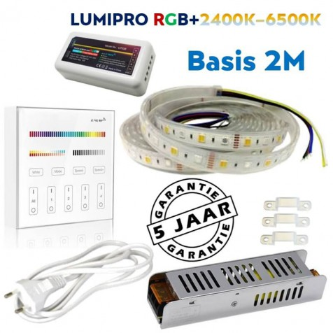 LUMIPRO basis 2M RGB + Wit 2400K-6500K IP65 | 4 zone wandbediening