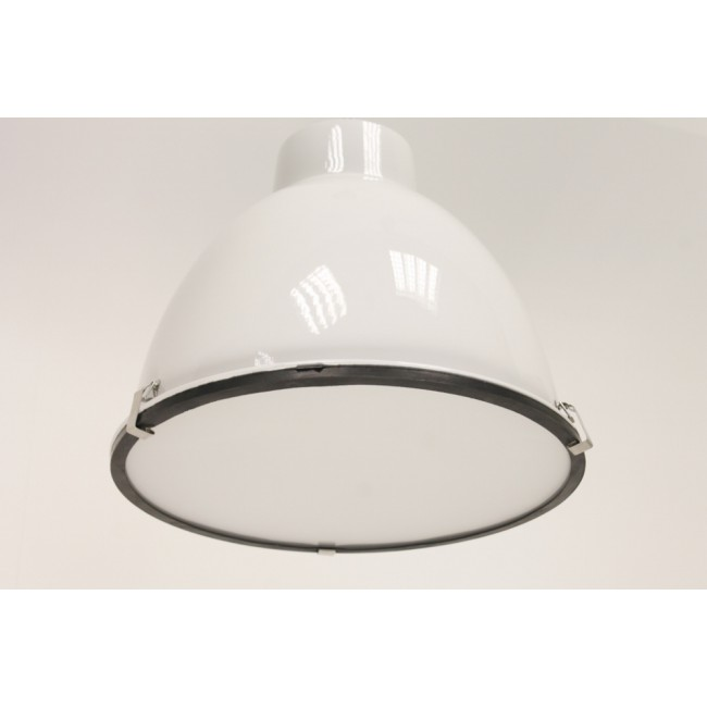Hoogglans Witte Hanglamp.Industrie Hanglamp Abbey 1 Hoogglans Wit Glas O 42 Cm
