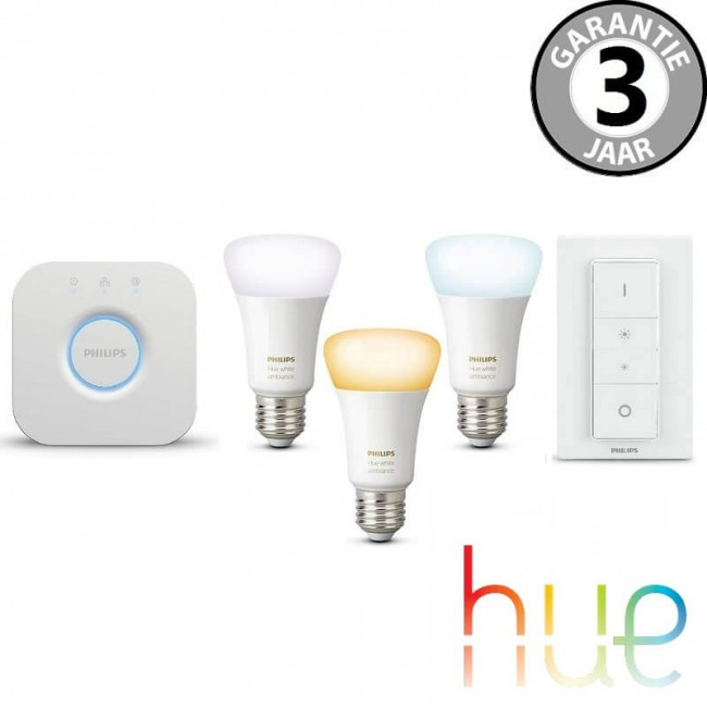 philips hue white ambiance starterspack e27 3 lampen. Black Bedroom Furniture Sets. Home Design Ideas