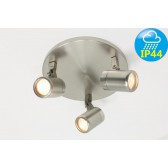 Kantelbare 3-lichts opbouwspot rond DOCCIA IP44 | Staal