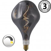 LED GIANT CURVE SMOKE DECO 4 watt E27 dimbaar | Gedeukte peer 16 cm