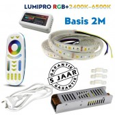 LUMIPRO basis 2M RGB + Wit 2400K-6500K IP65 | 4 zone afstandsbediening