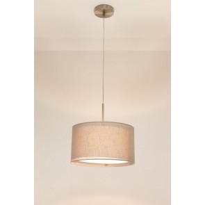 1-lichts hanglamp LACE staal | kap 0743 taupe Ø 32 cm