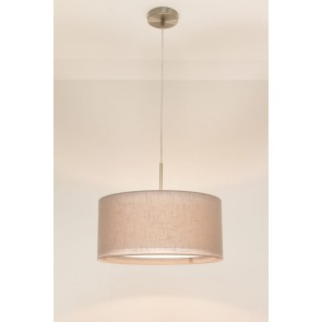 1-lichts hanglamp LACE staal | kap 0943 taupe Ø 40 cm