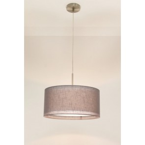 1-lichts hanglamp LACE staal | kap 0943 antraciet Ø 40 cm