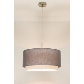 1-lichts hanglamp LACE staal | kap 1573 antraciet Ø 47 cm