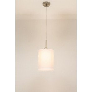 1-lichts hanglamp LACE staal | kap 1773 wit Ø 20 cm