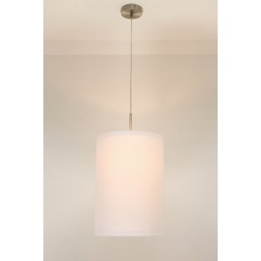 1-lichts hanglamp LACE staal | kap 1873 wit Ø 32 cm