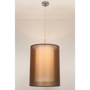 1-lichts hanglamp LACE staal | kap 2373 bruin Ø 40 cm