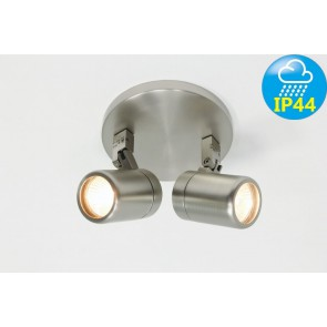 Kantelbare 2-lichts opbouwspot rond DOCCIA IP44 | Staal