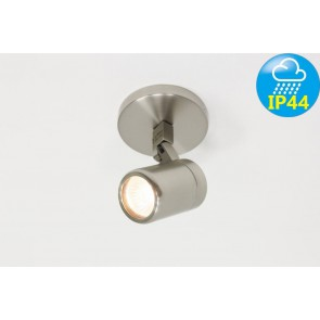 Kantelbare 1-lichts opbouwspot rond DOCCIA IP44 | Staal