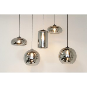 5-lichts hanglamp EVE BULBS brede plaat metallic smoke zwart