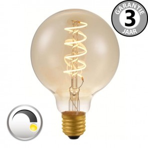 LED globe 95mm CURVE GOLD DECO 4 watt E27 dimbaar