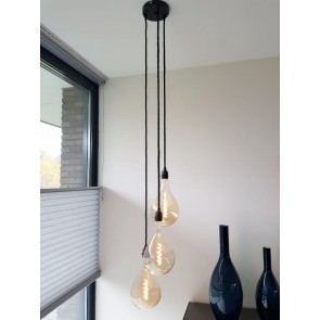 Hanglamp NUMBER THREE zwart | 3 dimbare GIANTS II GOLD