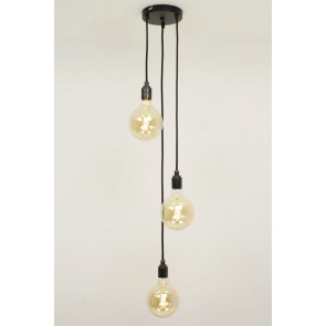 Hanglamp NUMBER THREE zwart | 3 dimbare globes GOLD 125mm